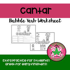Cantar Conjugation Chart Cantar Bubble Verb Worksheet And Poster