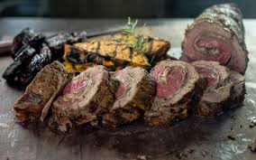 grilled beef tenderloin roulade with a