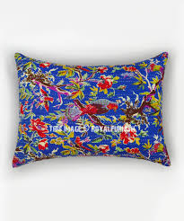 standard pillow shams. Blue Bird Paradise Handmade Standard Pillow Sham Set Of 2 - RoyalFurnish.com Shams