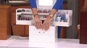 makeup organizer wood. luxury deluxe wood cosmetic box w/mirror by lori greiner with lisa robertson - youtube makeup organizer