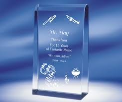 radiant engraved crystal self standing rectangle award
