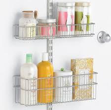platinum elfa utility bath door wall rack with wire baskets