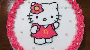 Kue Ultah Hello Kitty Buttercream Happy Birthday Cake Simple Tart