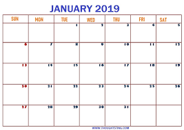 2019 Calendar Printable Template Blank January 2019 Calendar Printable Template Free Printable