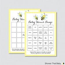 Printable Blank Cards Bumble Bee Baby Shower Bingo Cards In Yellow Printable Blank Bingo Cards And Prefilled Bingo Cards Bumble Bee Baby Bingo 0021