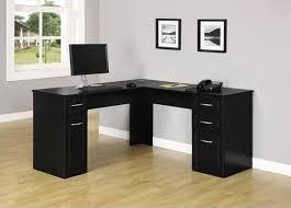 wood black l shaped desk