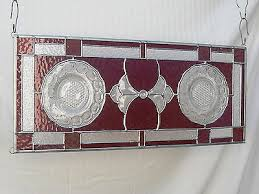 stained glass panel with recycled manhattan depression glass plates 505370871