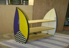 exceptional surfboard furniture bookshelves made from two surfboards the shelves are made of oak and the front edging