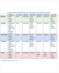 school schedule template after school schedule template 11 free word pdf format download