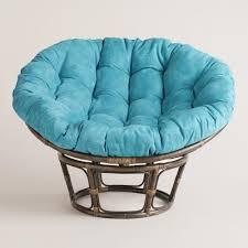 astounding rattan Papasan Chairs Jambon style with blue aqua cushion seat  best standin gon white rug