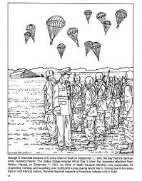 Ww2 Coloring Page General George Marshall Inspects Paratroopers