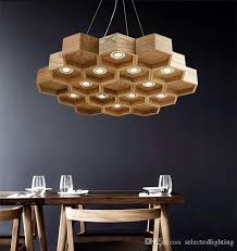 loft wood pendant lamp honeycomb chandeliers nordic antique wooden founded on solid wood light bar coffee small chandeliers contemporary