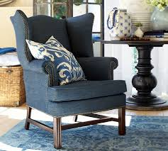 amazing wingback accent chair with thatcher upholstered wingback chair pottery barn