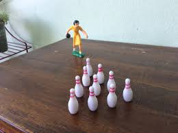 Decorated Bowling Pins Woman Bowling Cake Decoration Bowler With Pins Set Vintage 76
