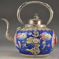Porcelain Copper <b>Chinese</b> Old <b>Handwork Carving</b> Lion Dragon Tea ...