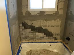 installing subway tile tub back wall