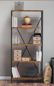 Amazon.com: Rustic Wood Bookcase with Adjustable Shelves Featuring an  Industrial, Factory Look - 100% Satisfaction Guarantee: Kitchen & Dining