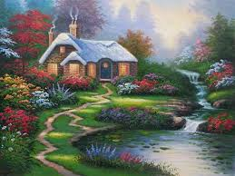 everetts cottage lake painting nature waterfall flower river spring art garden baikal picture