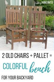 diy chairs into bench. 2 old chairs + pallet \u003d colorful bench for your backyard | upcycle diy into