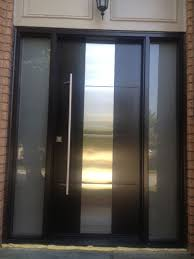 modern contemporary front entry door frosted glass and steel plate modern exterior front door with 2 side liteulti point locks installed by