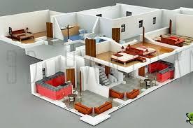 interior plan houses 3d section plan 3d interior design 3d