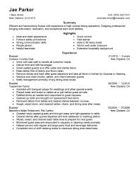 Best Busser Resume Example Livecareer