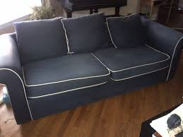 varnamo 3 seater navy with contrast white piping