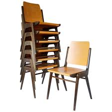 Set of 12 Stacking Chairs by Franz Schuster, Austria, 1950s 1
