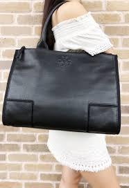 tory burch ella canvas leather large tote laptop bag black 1