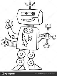 Cartoon Robot Coloring Page Stock Vector Izakowski 137919170