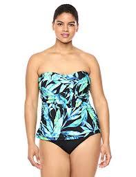 Chaps Swimwear Size Chart Chaps Womens Plus Size Rouched Front Bandeau Tankini