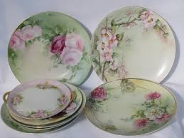 lot old <b>hand</b>-<b>painted</b> china plates w/ flowers, antique <b>vintage</b> Bavaria ...