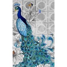 diy diamond painting kit blue peacock animal embroidery mosaic paste home deco
