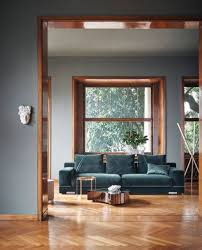 this teal sofa paired with the