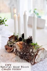 diy natural wood block candle holder cool inspirational