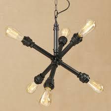 matt black vintage iron water pipe industrial pendant light 6 lamp led fixture e27 220v frisky lighting