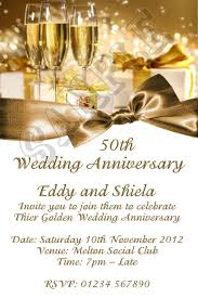 personalised 50th anniversary party invitation with golden color scheme and wording