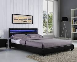 Image is loading Double-King-Size-Bed-Frame-LED-Headboard-Night-