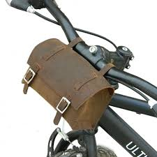 genuine leather saddle bag handlebar frame bag vintage brown small square