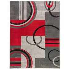 well woven ruby galaxy waves grey red 5 ft x 7 ft modern