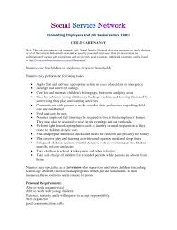 Objective For A Nanny Resume Nanny Resume Cover Letter The Sample Housekeeper Job Description 84