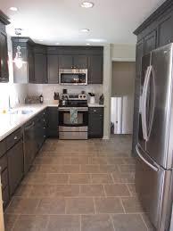 Remodelaholic Kitchen Redo With Dark Gray Cabinets Photos Of Quartz