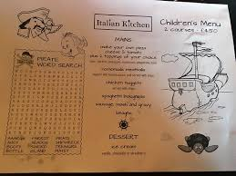 Italian Menu Awesome Specials Kids Menu And Kids Delivery To Open Kitchen Picture Of