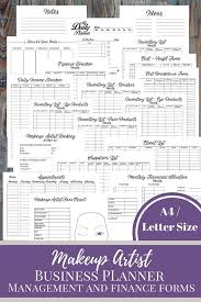 makeup artist business planner and manager business finance and management printable planner makeup services small business plan clients list