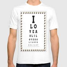 Society6 T Shirt Size Chart I Love Asl Eye Chart T Shirt