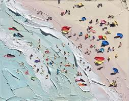 beautiful beach paintings by the australian artist sally west she uses extra thick paint to create texture and an almost impressionistic style