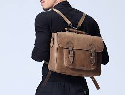 mens leather backpack business bag leather messenger bag leather murse for electronic gadget bicycle bags