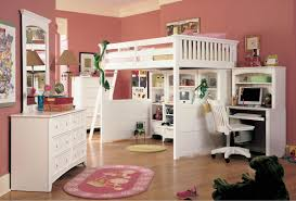 White Loft Bunk Bed Full Size With Desk And Wooden Swivel Chair In ...