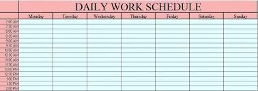 Daily Work Schedule Template Plan For Teachers Work Schedule