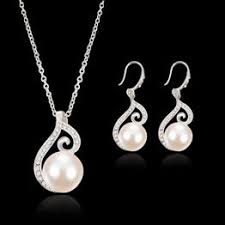 2PCs Set Necklace Earrings 18K Silver Plated Chunky ... - Vova